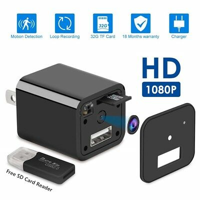 HD 1080P  Hidden Spy Camera USB Wall Charger Adapter Video Recorder Security Cam