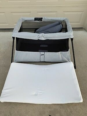 Silver Baby Bjorn Travel Crib - Excellent Condition w/Carrying Case & Manual