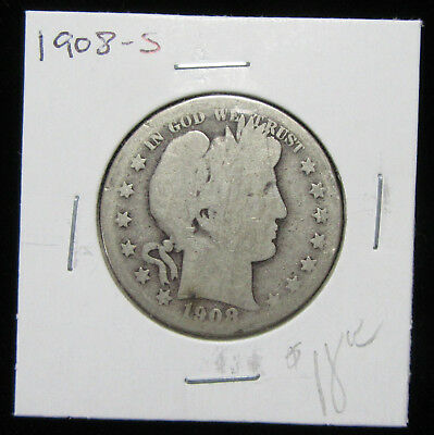 1908-S 50c Barber Half Dollar. Circulated. 90% silver. Desirable date. (1218335)