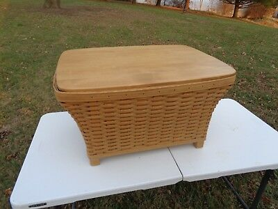 Longaberger Huge Housekeeper Basket With Wood Lid And Protector