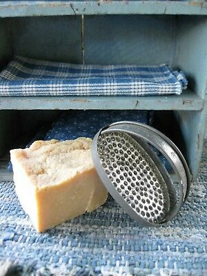 Antique Dark Tin Soap Grater with Lye Soap Chunk