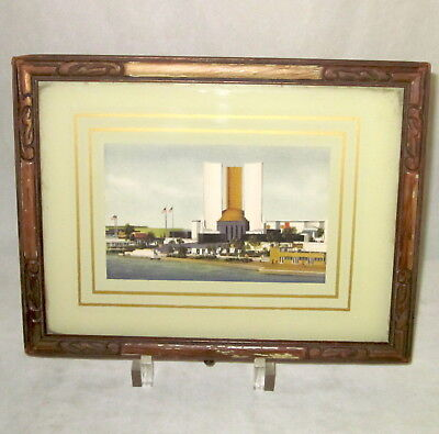 1933 World's Fair Chicago Federal Building fabric postcard in original frame