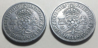 Lot of 2 - Great Britain (UK) - 1947 Two Shillings Coins - King George VI