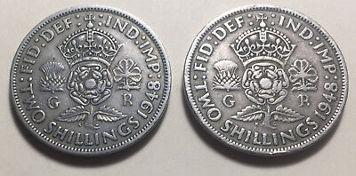 Lot of 2 - Great Britain (UK) - 1948 Two Shillings Coins - King George VI