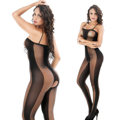 Women Sexy Lingerie Lace Fishnet Tights Body Stockings Open Crotct Black