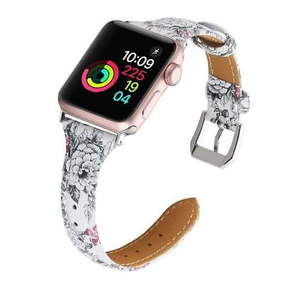 Flower Real Leather Band For Apple Watch 38/40/42/44mm Replacement iWatch Strap