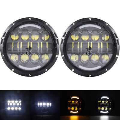 """Pair 7"""" inch 80W LED Headlight DRL High Low Beam Projector Headlamp for Jeep"""