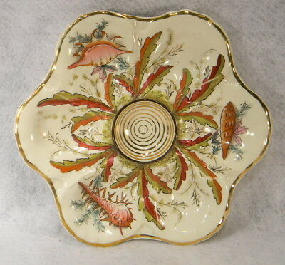 Antique Hand Painted Oyster Plate
