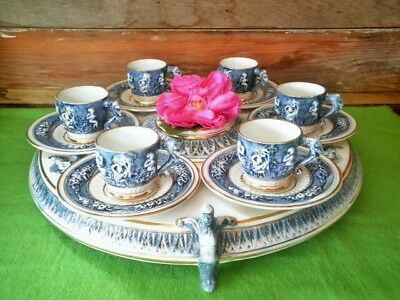Vintage Coffee Set R Capodimonte Italy Blue White Stand 6 Cups Saucers Demitasse