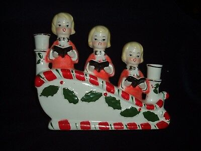 Vintage Ceramic Double Candle Holder w/Christmas Choir Girls (Red Flocked)
