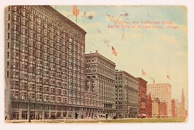 Congress And Auditorium Hotels Looking North On Michigan Avenue, Chicago Il 1912