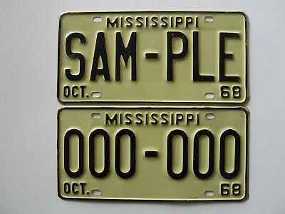 "1968 Mississippi ""SAM-PLE"" & ""000-000"" license plate tags * Photos * Very Good"