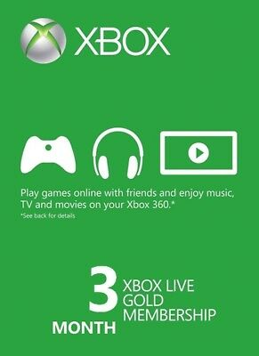 Xbox Live Gold 3 Month Membership, US seller, Speed of Light Delivery