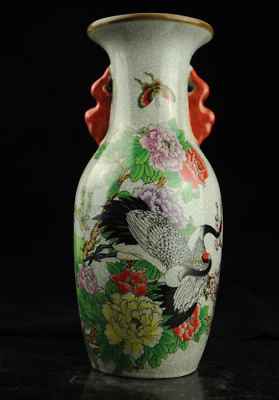 Old Chinese Hand-Made Famille Rose Porcelain Cranes And Flowers Pattern Vase