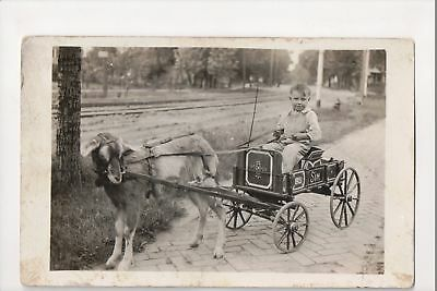 I-739 Goat Wagon Little Boy on Cart Wagon Pulled by Goat Real Photo Postcard