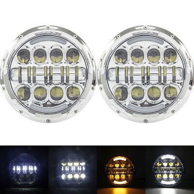 """Pair 7"""" inch 80W LED Headlight DRL Chrome Housing Projector Headlamp for Jeep"""