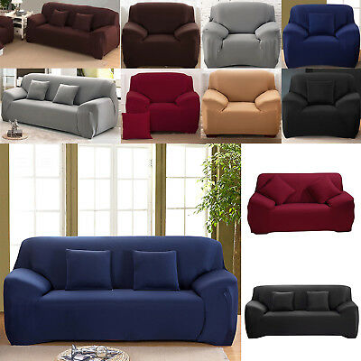 AU 1/2/3 Sofa Covers Couch Slipcover Stretch Elastic Fabric Settee Protector Fit
