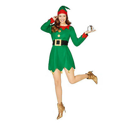 Women Christmas Elf Costume Adult Santa Claus Halloween Cosplay Dress