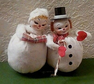 Vint. Snowman Couple Mr.&  Mrs. Frosty Roly Poly Ornament Straw Filled chenille
