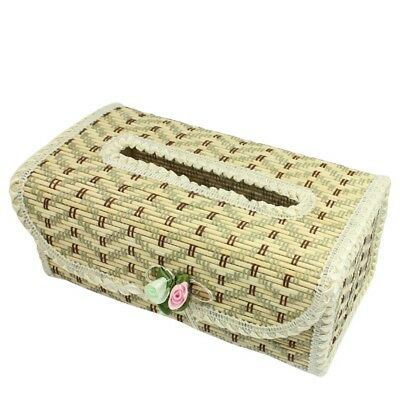 3X(Zigzag Pattern Flower Decor Bamboo Handmade Tissue Box Cover Holder I6F3)