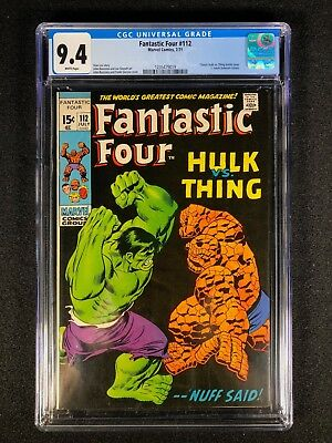 Fantastic Four #112 CGC 9.4 (1971) - Classic Hulk vs Thing battle issue!