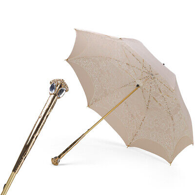 NEW Pasotti Ecru Double Cloth Parasol With Luxury Handle
