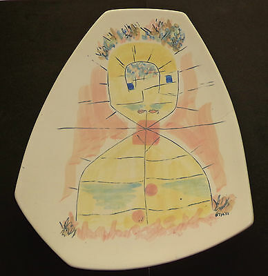 Mid Century Modern Pottery Ceramic Sculpture Tray Abstract Picasso Style Vtg Ca