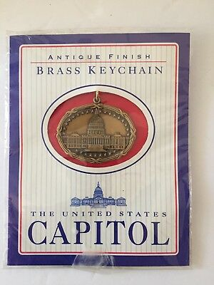 United States Capitol Solid Brass Keychain Antique Finish
