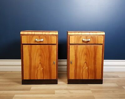 Art Deco Bedside Tables, Restored 1940, Antique Vintage