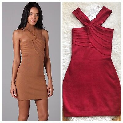 Nwt Halston Heritage Strick Kreuz Front Party Dress-100 % Silk-Ruby RACING RED