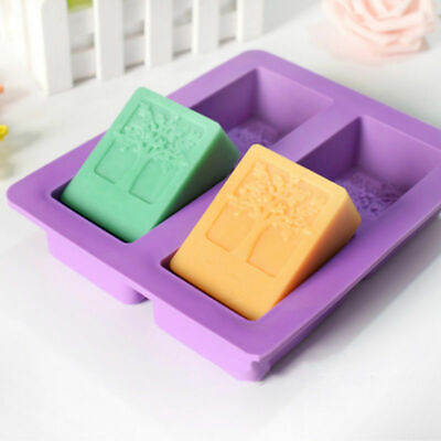 4 Cavity Tree Pattern Soap Mold Silicone Craft DIY Candy Chocolate Cake Mould