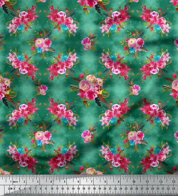 Soimoi Fabric Feather & Ranunculus Floral Print Fabric by the Meter - FL-825A