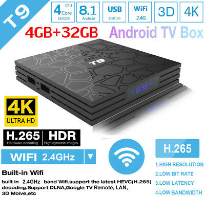 NEW T9 Android 8.1 TV BOX 4GB+32GB 2.4G WiFi+Bluetooth Quad Core H.265 4K HD 3D