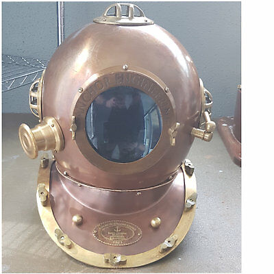 "Solid Brass 18"" Diving Helmet Nautical U.S Navy Divers Mark V Maritime"