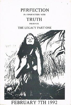 PERFECTION & TRUTH Rave Flyer Flyers 7/2/92 A5 Illegal Acid House Various meets