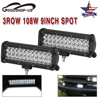 2X 9Inch 108W spot Led Work Light Bar Tri-Row Offroad Driving Lamp For Jeep Ford