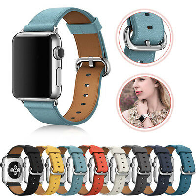 For Apple Watch Series 4 3 2 1 Leather Watch Band Strap Bracelet+Classic Buckle