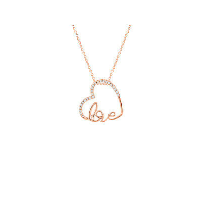 "Love & Heart Diamond Pendant Necklace 18"" 14K Rose Gold Over 925 Sterling Silver"