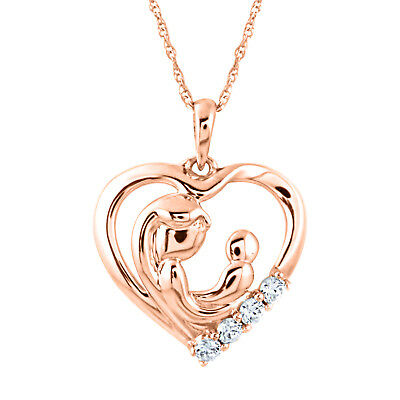 "Round Diamond Mother & Child 18"" Pendant 14K Rose Gold Over 925 Sterling Silver"