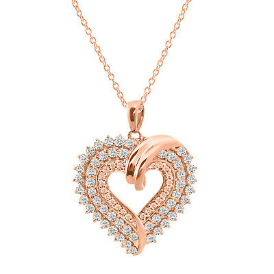 "Round Diamond Heart Cluster Pendant 18"" 14K Rose Gold Over 925 Sterling Silver"