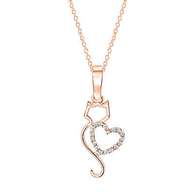 14K Rose Gold Over 925 Sterling Silver Round Diamond Cat With Heart Pendant 18""