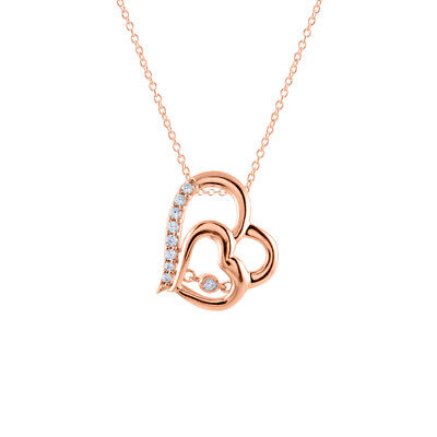 "Double Heart Dancing Diamond 18""  Pendant 14K Rose Gold Over 925 Sterling Silver"