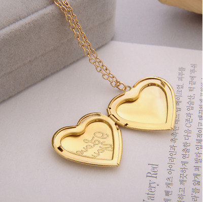 Bronze Heart Lover Photo Picture Frame Locket Pendant Chain Necklace
