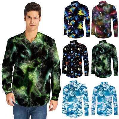 Galaxy 3D Printed Mens Button Down Shirt Formal Casual Long Sleeve T-Shirt Tops