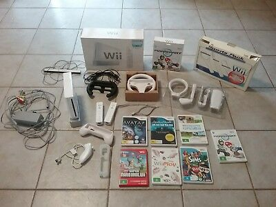 Nintendo Wii Console Bundle Games Including Mario Kart