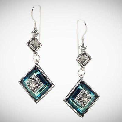 S138 ~ Sterling Silver & Swarovski Medieval Drop Earrings