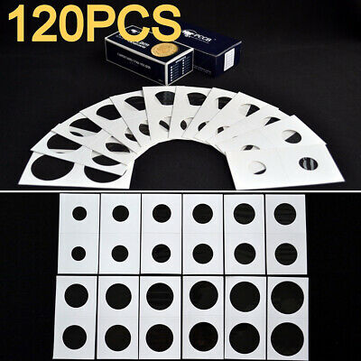120Pcs 12 Sizes Lighthouse Self Adhesive Coin Holders Cardboard Flips Clips