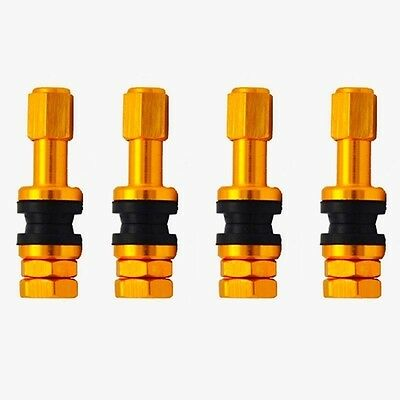 4pcs/Set Bolt-in Aluminum Tubeless Wheel Tire Valve Stems With Dust Cap Gold new