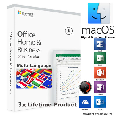 Microsoft Office Home and Business 2019 -For 3x Mac,Multi Users,Lifetime Product