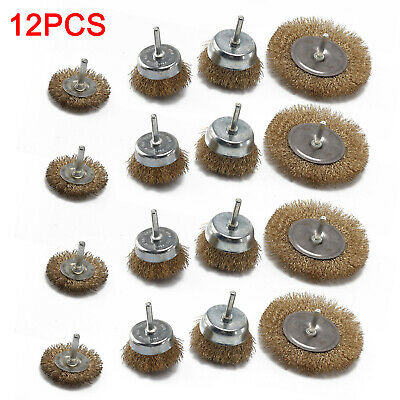 12x Drill Wire Wheel Brush Cup & Flat Crimped Steel Drill Attachment Brushes